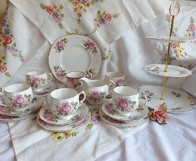 Beautiful Vintage Bone China Royal Vale Pink Rose Tea Set