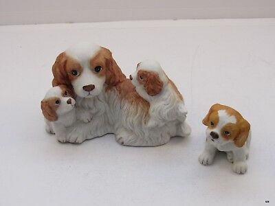 Vintage HOMCO Hand Painted Dog Puppy COCKER SPANIEL Figurines  #1434 and 1407