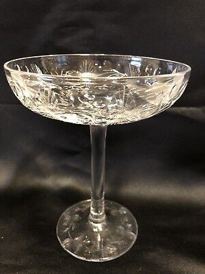 Crystal Compote Cut Leaf Berry Thistle Clear Stemmed