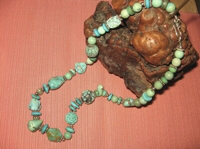 Vtg Chinese Carved Shou Beads Turquoise Blue & Green Necklace Sterling Silver