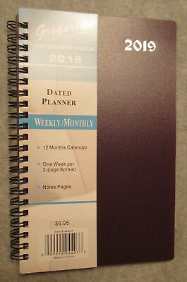 "2019 Premium PLUM SPIRAL PLANNER WEEKLY/MONTHLY 8X5"" NOTES ADDRESS PHONE - NEW"