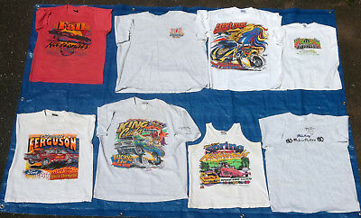 """8 Vintage Pre-Worn """"ihra/nhra"""" Drag Racing T-Shirts In Good/vg Cond-Various Size"""