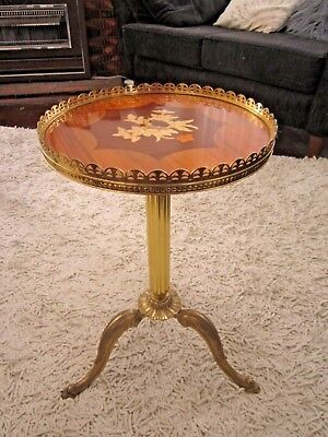Exquisite Unique Vintage Brass Wine Side Occasional Table With Marquetry Top