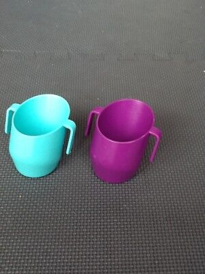 Doidy toddler trainer drinking cups x 2 , Purple and Turquoise