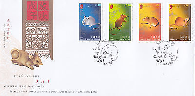 "Hong Kong, 2008, ""year Of Rat""  Stamp Set On Official Fdc Fresh Condition"