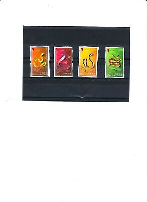"Hong Kong, 2001, ""year Of Snake"" Stamp Set, Mint Nh  Very Fresh Good Condition"