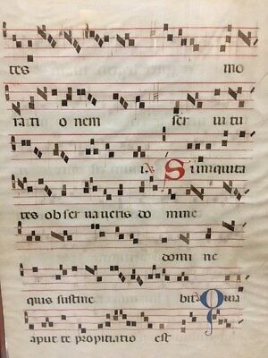 18th cent. Italy illuminated Gregorian Antiphonal chant leaf music parchment