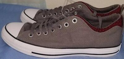 NEW Converse All-Star Chuck Taylor Low Gray Red Sneakers Shoes Mens 10  Womens 12 7adf6465c