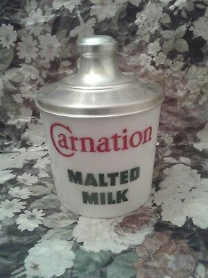 """Vintage Soda Fountain Carnation Malted Milk Glass Container W/lid """"beautiful"""" #1"""