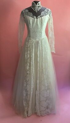 Vintage 50s Lace Wedding Dress Zombie Vampire Bride  Day Of The Dead FAB Hallowe
