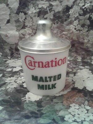 """Vintage Soda Fountain Carnation Malted Milk Glass Container W/lid """"beautiful"""" #3"""