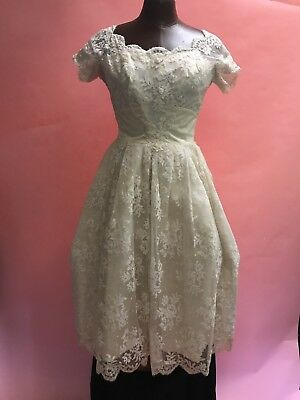 Vintage 1950's Beaded Lace Tulle Knee Length Wedding Dress Newman Marcus Petite