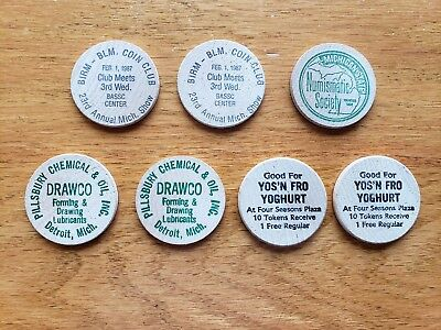 Lot of 7 Vintage Wooden Nickels-Pillsbury,Coin Shows,Four Seasons