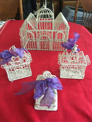 4 Vintage Shabby Chic White Metal Decorative Bird Cages