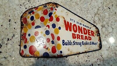Vintage Wonder Bread metal tin modern POP art 1950s Sign mid century retro