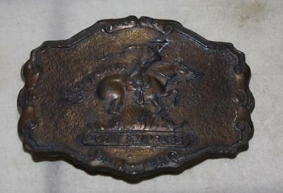 "Wells Fargo Pony Express Vintage Brass Belt Buckle ""1902"" Collectible"