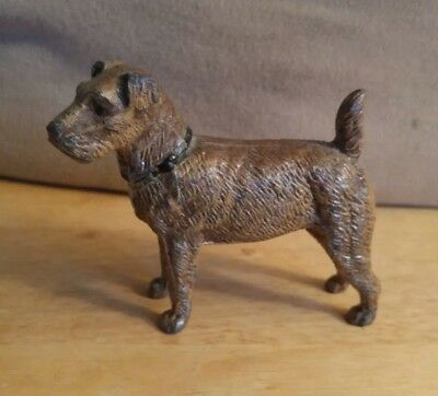 Vintage 1940s Germany Cast Metal Terrier Dog Paperweight Original Paint