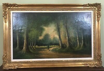 Very Large  Old Vintage Oil Painting On Board, Ornate Frame