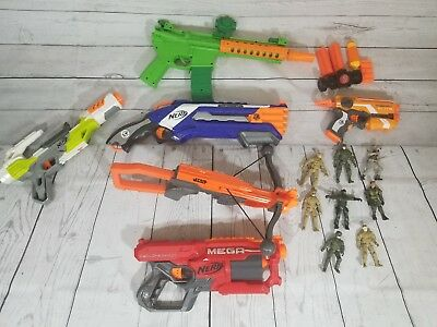 Lot of 4 Nerf Gun Bundle with miscellaneous accessories
