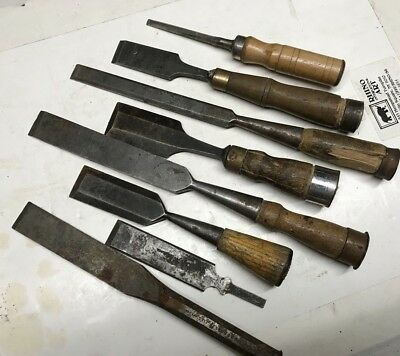 Lot of vintage antique wood chisels woodworking tools Carpentry