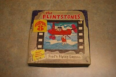 1968 Hanna-Barbera The Flintstones Fred's Flying Lesson Super 8 B/w Home Movie