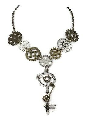 Key and Gears Vintage Steampunk Necklace - Gear Jewelry