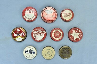 Vintage MIXED LOT of 10 ADVERTISING COFFEE ORIGINAL JAR LIDS ONLY MJB + #06064
