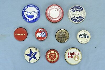 Vintage MIXED LOT 10 ADVERTISING COFFEE ORIGINAL JAR LIDS ONLY FOLGERS + 06066