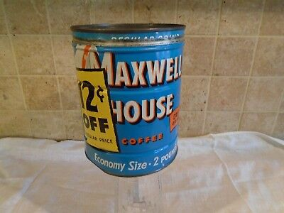 Vintage Maxwell House Coffee Tin Can Two pound with lid ~12 Cents off Drip Grind