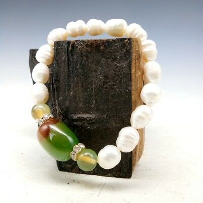Chinese natural pearl hand made with agate bracelet