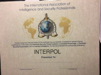 """Interpol, International Police Certificate .Fill In Your Own Info. 81/2"""" X 11"""""""