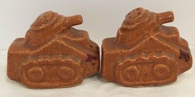 Vintage Unmarked Niloak WWII Tank Salt And Pepper Shakers