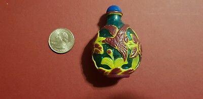 Antique Rare Chinese Collectibles Green Peking Glass Birds Snuff Bottle!!!