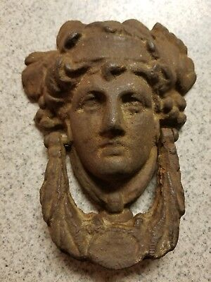 Vintage Cast Iron Figural Head Door Knocker Roman Greek