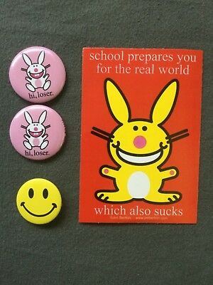 Happy Bunny sticker and pins (2) and Smiley Face pin
