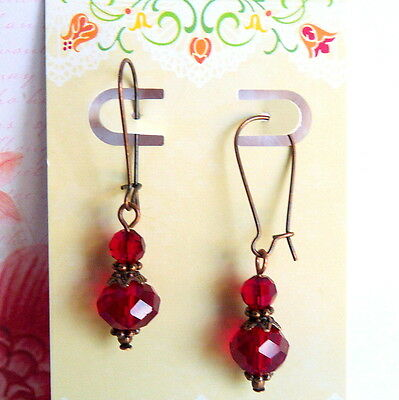 Ruby Red Crystal Victorian Style Antique Copper Tone Kidney Wire Drop Earrings