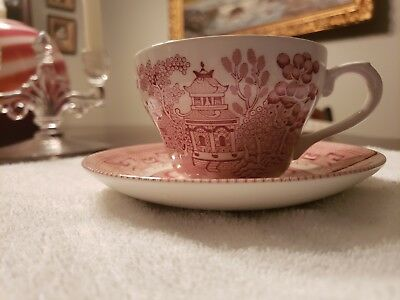 Churchill pink willow tea cups, saucers and bowls - 25 cups, 26 saucers, 8 bowls