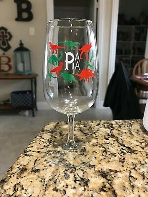 Prairie Artisan Ales Dino Dinosaur Glass Beer Stemware Red Green White Christmas