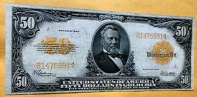 1922 $50 Gold Certificate Note Vf Large Fr 1200