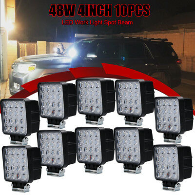 Square LED Work Light spot Truck Driving Fog Lamp 4WD Jeep Boat 4INCH 10pcs 48W