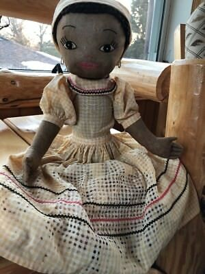Vintage Black Cloth Doll Cozy Toaster Cover Island Lady Kitchen Antique Retro