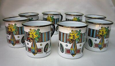 (8) GEORGES BRIARD Mid Century Enamel Coffee Mugs ~ Cool Design ~ EXCELLENT!