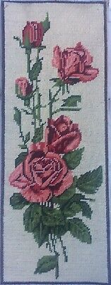Vtg Lovely Completed France Margot Tapestry Needlepoint Pink Roses & Leaves