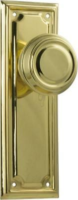 pair polished brass edwardian door handles,round knob with backplates,185 x 60mm