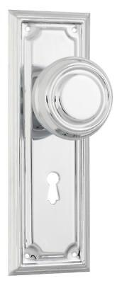 pair polished chrome edwardian door handles,round knob backplates,185 x 60mm