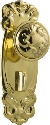 TH0984P privacy set brass stepney ornate door knobs with backplates,182 x 62