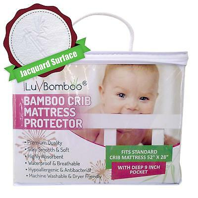 Mattress Pad Protector Waterproof Cover Silky Soft Bamboo Jacquard Fitted Topper