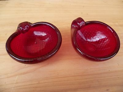 Vintage Old Thick Red Ruby Colour Glass Dishes Lot '2' (A189)