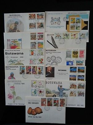 BOTSWANA 9 x DIFFERENT COMMEMORATIVE FIRST DAY COVERS 1983-87