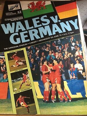 Wales V Germany Matchday Programme. European Championship Qualifying June 1991